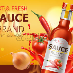 Two bottles with hot and fresh chili sauce, submerged in liquid, tomatoes, chili and onions. Place for text. Realistic 3D mockup product placement. Vector - Starpik Stock