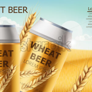 Two cans with craft beer in a field full of wheat grains. Blue cloudy sky. Realistic 3D mockup product placement. Place for text. Vector - Starpik Stock