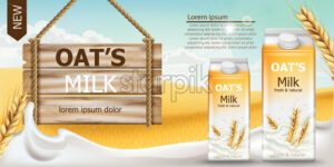 Two carton boxes with fresh and natural oat milk in a field full of grains. Blue cloudy sky. Wooden sign. Realistic 3D mockup product placement. Place for text. Vector - Starpik Stock