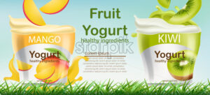 Two containers with mango and kiwi fruits yogurt on grass. Place for text. Healthy ingredients. Realistic 3D mockup product placement. Vector - Starpik Stock