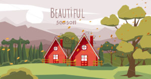 Two farm houses in the middle of the forest with fallen orange leaves carried by the wind. Beautiful season. Vector - Starpik Stock