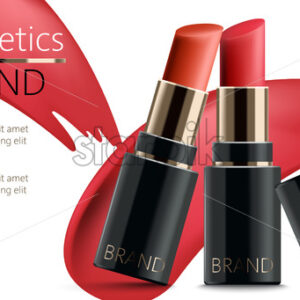 Two lipsticks leaning on each other. Realistic. 3D mockup product placement. Place for text. Vector - Starpik Stock