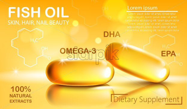 Two shiny capsules with natural extract of fish oil for skin, hair and nail beauty. Dietary supplement with Omega 3, DHA and EPA. Place for text. Realistic 3D mockup product placement. Vector - Starpik Stock