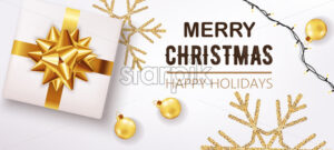 White christmas box with ribbon and golden decorations and festive lights in background. Happy holidays. Realistic 3D mockup product placement. Vector - Starpik Stock