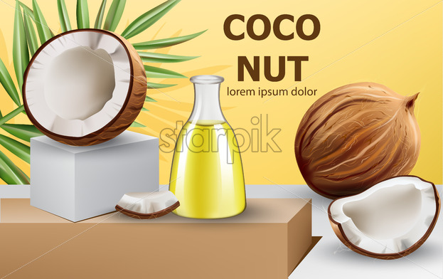 Whole and cracked open coconuts with monstera leaf and a carafe with oil on podium. Realistic. 3D mockup product placement. Place for text. Vector - Starpik Stock