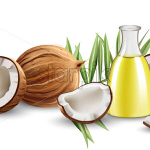Whole and cracked open coconuts with monstera leaves and a carafe with oil. Realistic. 3D mockup product placement. Vector - Starpik Stock