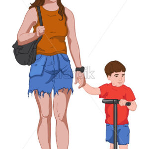 Young mother in jeans skirt and brown t-shirt holding hands with her son dressed in red and blue clothes while he is riding kick scooter. Vector - Starpik Stock