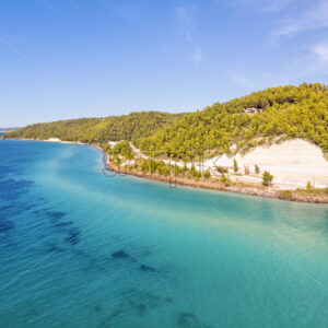 Aerial drone view of Fourka Skala sea and pine forest in Halkidiki, Greece - Starpik Stock