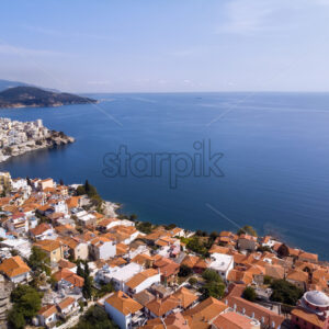 Castle and city of Kavala by the sea in Greece - Starpik Stock