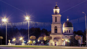 Central Nativity Cathedral in Chisinau at night, Moldova - Starpik Stock