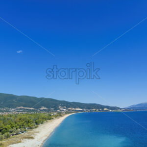 Drone view of sea in Asprovalta village, Greece - Starpik Stock