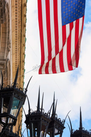 National flag on building of Boston city Public Library, USA - Starpik Stock
