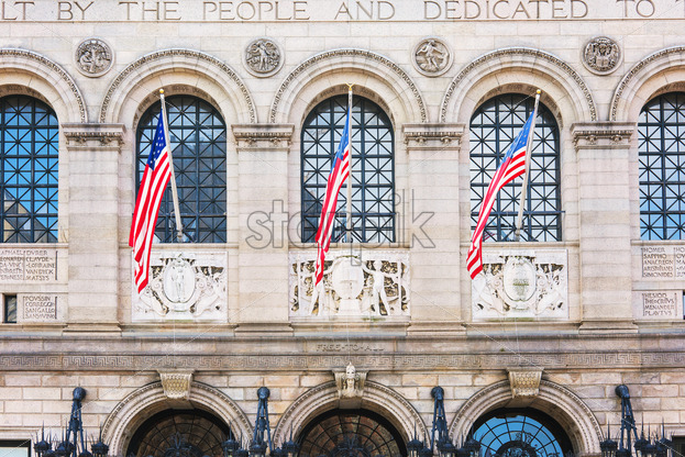 National flags on building of Boston city Public Library, USA - Starpik Stock