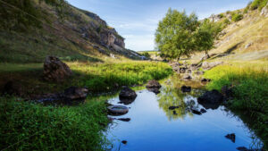 Nature of Moldova, vale with flowing river, high grass and trees along it, hills with rocky slopes, rocks lying in the water - Starpik Stock