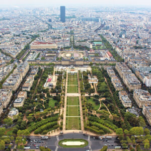 Panoramic view on paris city, Field of Mars, from the top of eiffel tower, france - Starpik Stock