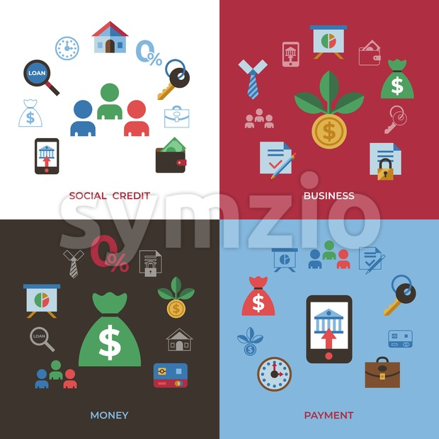Social score credit and banking payment icons infographics, digital vector
