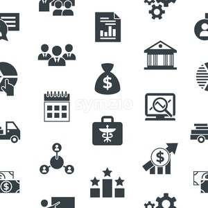 Business corporate stakeholder and company strategy icons infographics, digital vector seamless pattern Stock Vector