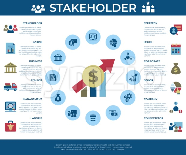 Business corporate stakeholder and company strategy icons infographics, digital vector