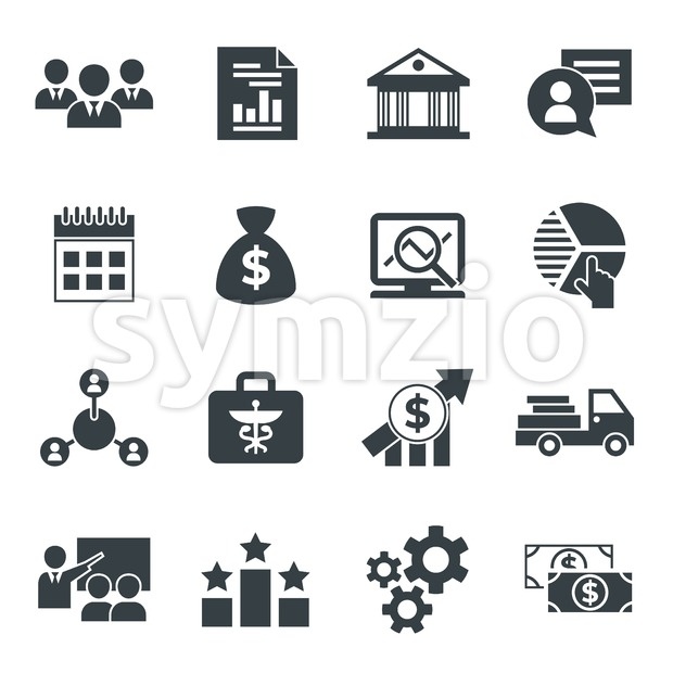 Business corporate stakeholder and company strategy icons infographics, digital vector Stock Vector