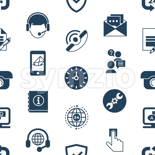 Call center and business feedback support icons infographics, digital vector seamless pattern Stock Vector