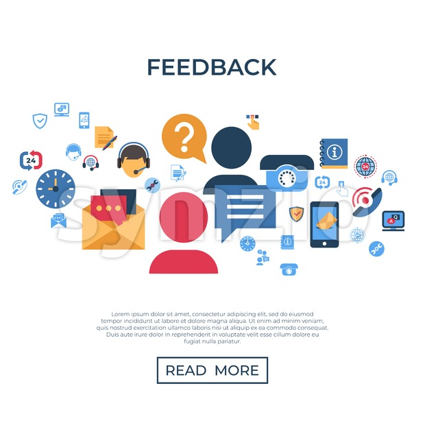 Call center and business feedback support icons infographics, digital vector