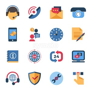 Call center and business feedback support icons infographics, digital vector Stock Vector