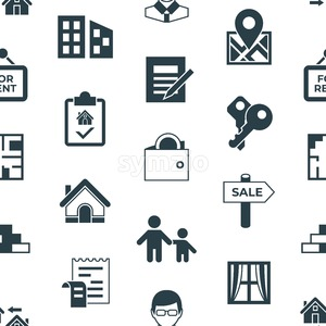 Real estate and housing property icons infographics, digital vector seamless pattern Stock Vector