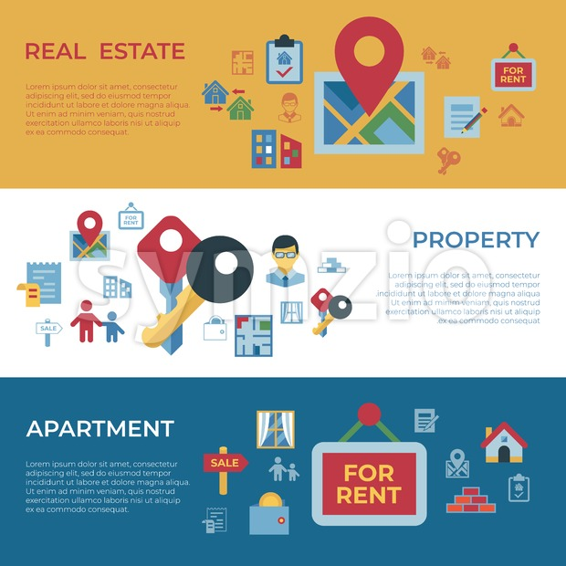 Real estate and housing property icons infographics, digital vector Stock Vector