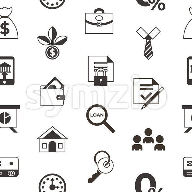 Social score credit and banking payment icons infographics, digital vector seamless pattern