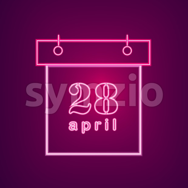 April neon calendar Vector. Easter Calendar Neon Sign. Seasonal Holiday banner, poster, icon, info graphic Stock Vector