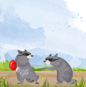Two Raccoons Vector. Cute animals fighting for food cartoon illustration Stock Vector