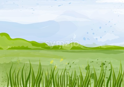 Green field Vector background illustration. Spring summer beautiful template Stock Vector