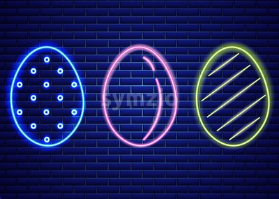 Easter neon eggs symbol Vector. Seasonal Holiday banner, poster, icon, design Stock Vector