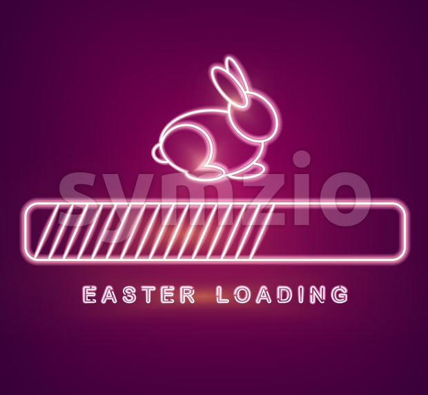 Easter card Vector with neon rabbit loading symbol. Spring holiday Stock Vector