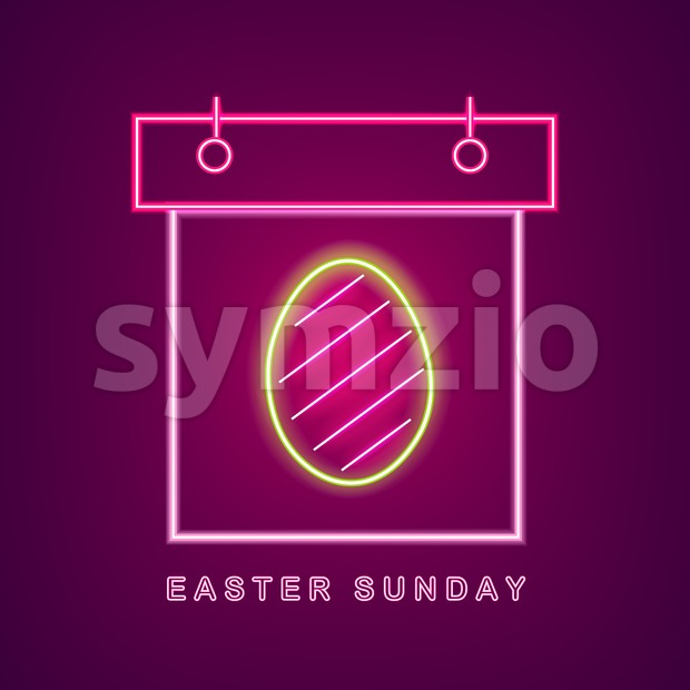 Easter egg neon calendar Vector. Easter Calendar Neon Sign. Seasonal Holiday banner, poster, icon, info graphic Stock Vector