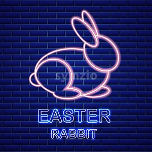 Easter card Vector with neon rabbit. Spring holidays. blue background Stock Vector
