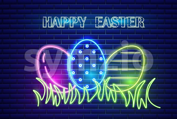 Happy Easter neon eggs symbol Vector. Seasonal Holiday banner, poster, icon, design Stock Vector