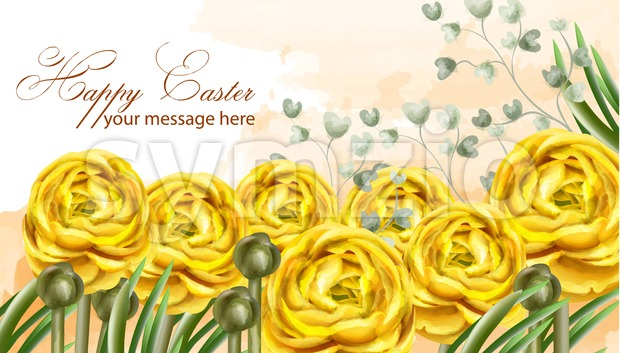 Happy Easter card yellow flowers Vector watercolor illustration. Spring floral greeting