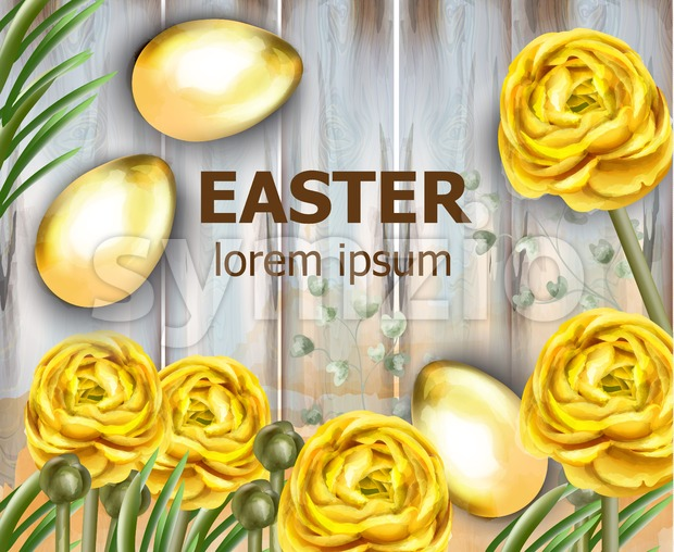 Easter card golden eggs and yellow flowers Vector watercolor illustration Stock Vector