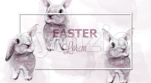 Easter bunny rabbits Vector watercolor. Cute animals card holiday. Pink background