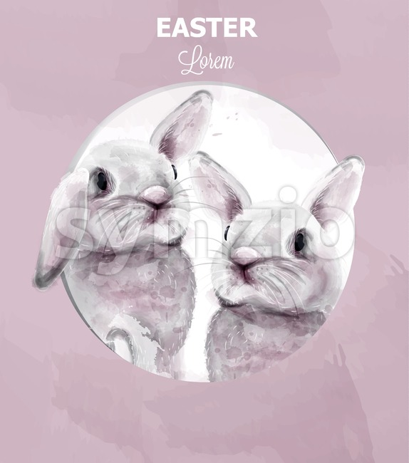 Easter bunny rabbits Vector watercolor. Cute animals card holiday. Pink background Stock Vector