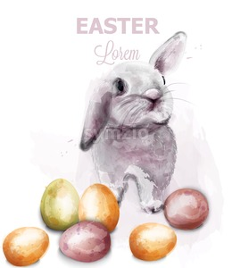 Easter Bunny rabbit Vector watercolor. Cute spring card. Easter holiday greeting Stock Vector