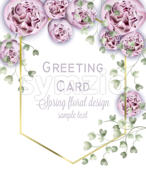 Spring peony flowers watercolor Vector frame. Beautiful floral wedding or party invitation template Stock Vector