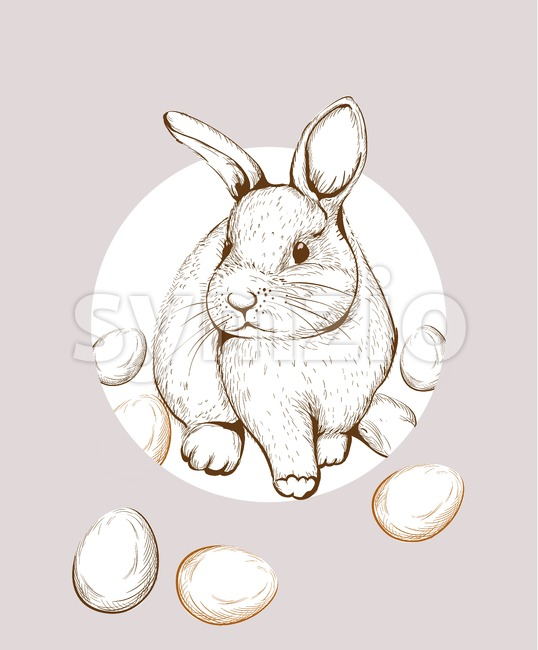Easter Bunny rabbit Vector lineart. Cute spring card. Easter holiday greeting Stock Vector
