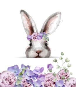 Bunny rabbit with flowers Vector watercolor. Cute spring card. Easter holiday greeting Stock Vector
