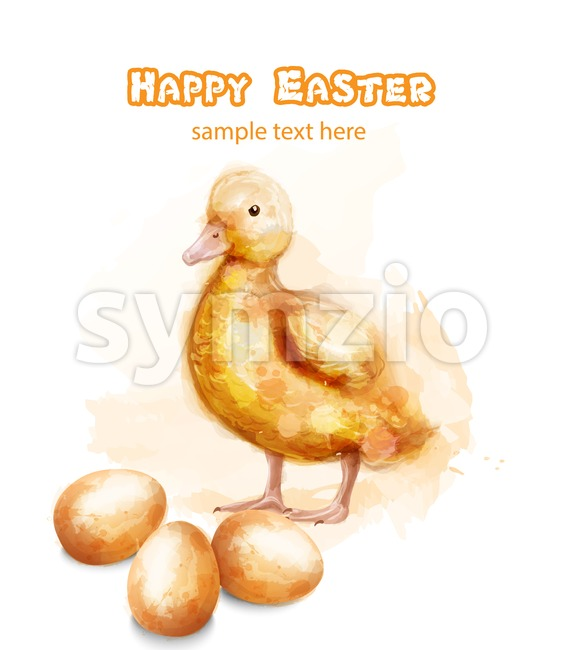 Easter ducky Vector watercolor card. Happy Easter greetings with bud and egg Stock Vector