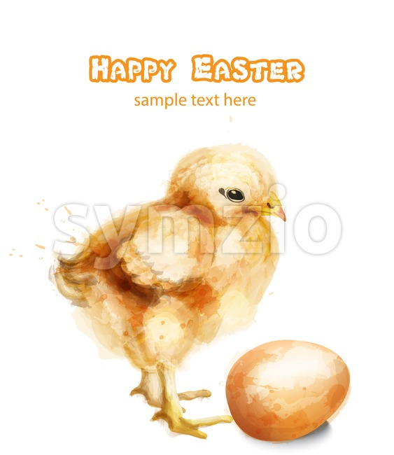Easter chick Vector watercolor card. Happy Easter greetings with chicken and egg
