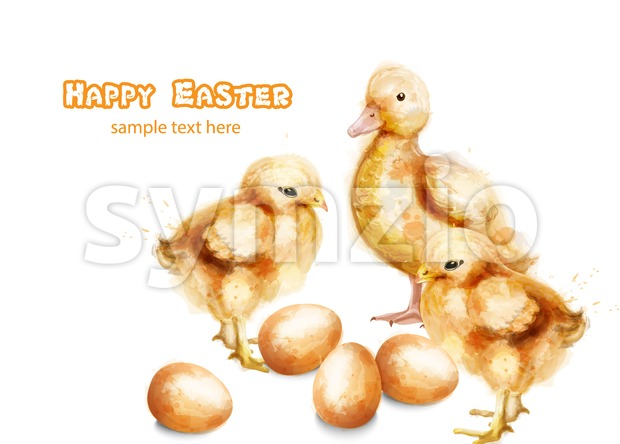 Easter ducky and chicks Vector watercolor card. Happy Easter greeting