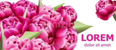Peony flowers bouquet card background Vector. Beautiful spring template Stock Vector