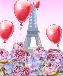 Balloons and peony flowers in Paris Vector. Romantic card spring time at Eiffel Tower Stock Vector